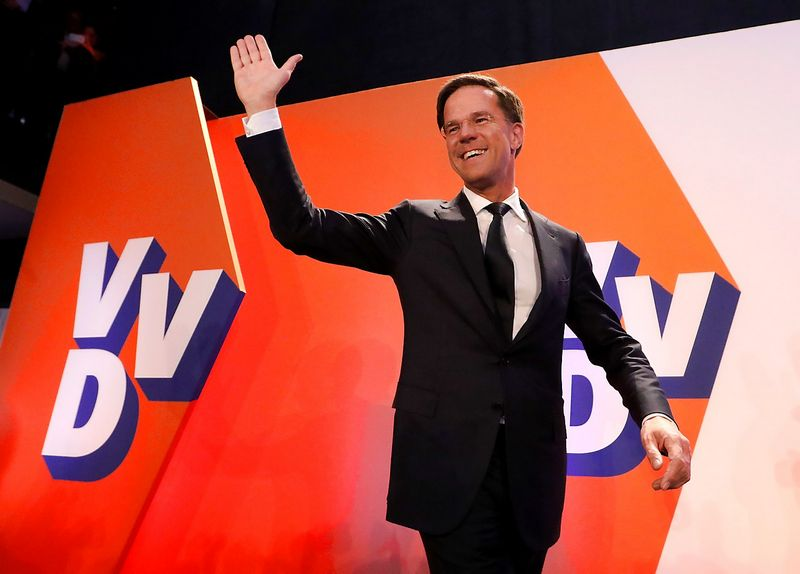 Dutch Prime Minister Mark Rutte of the VVD Liberal party appears before his supporters in The Hague, Netherlands, March 15, 2017.  REUTERS / Yves Herman