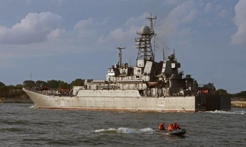 """Rusijos karinis laivas Baltijsko uoste, kuriame yra dislokuotas šalies karinis laivynas. Igorio Zarembos  (""""RIA Novosti"""" / """"Scanpix"""") nuotr."""