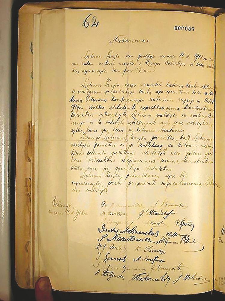 Rastas Vasario 16-osios Lietuvos Nepriklausomybės Akto originalas