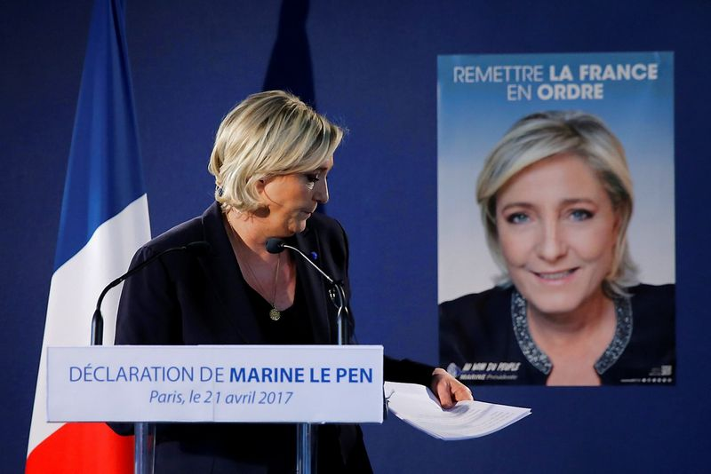 Marine Le Pen, French National Front political party leader and candidate for the French 2017 presidential election, leaves after a news conference in Paris, France, April 21, 2017. REUTERS / Benoit Tessier