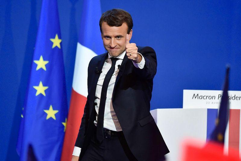 """Prancūzijos prezidento rinkimų favoritas Emmanuelis Macronas. Pierre Villard (""""Sipa"""" / """"Scanpix"""") nuotr."""