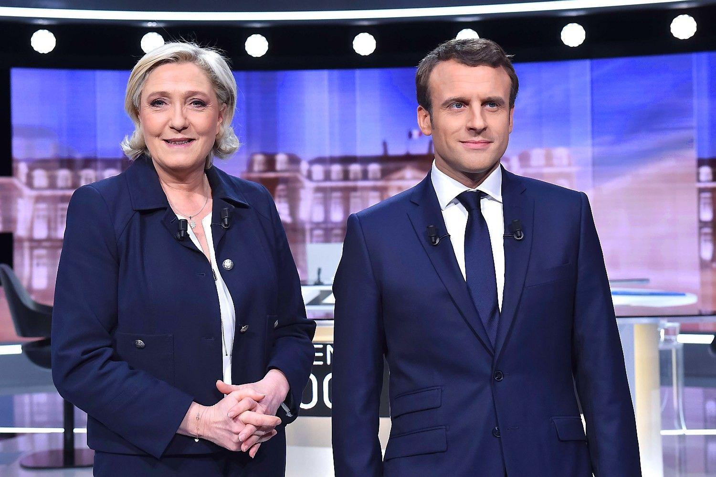 Įnirtinguose Prancūzijos rinkimų debatuose žiūrovams labiau patiko Macronas