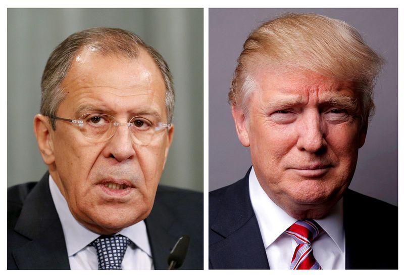 """Sergejus Lavrovas, Rusijos užsienio reikalų ministras, ir Donaldas Trumpas, JAV prezidentas. Maximo Zmeyevo ir Lucaso Jacksono (""""Reuters"""" / """"Scanpix"""") nuotr."""