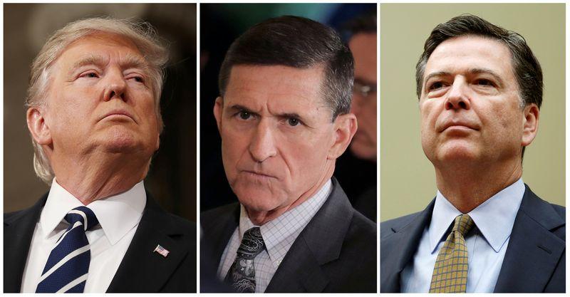 """Iš kairės: Donaldas Trumpas, JAV prezidentas, Michaelis Flynnas, buvęs prezidento patarėjas nacionalinio saugumo klausimais, ir Jamesas Comey, atleistas FTB vadovas. """"Reuters"""" / """"Scanpix"""" montažas."""