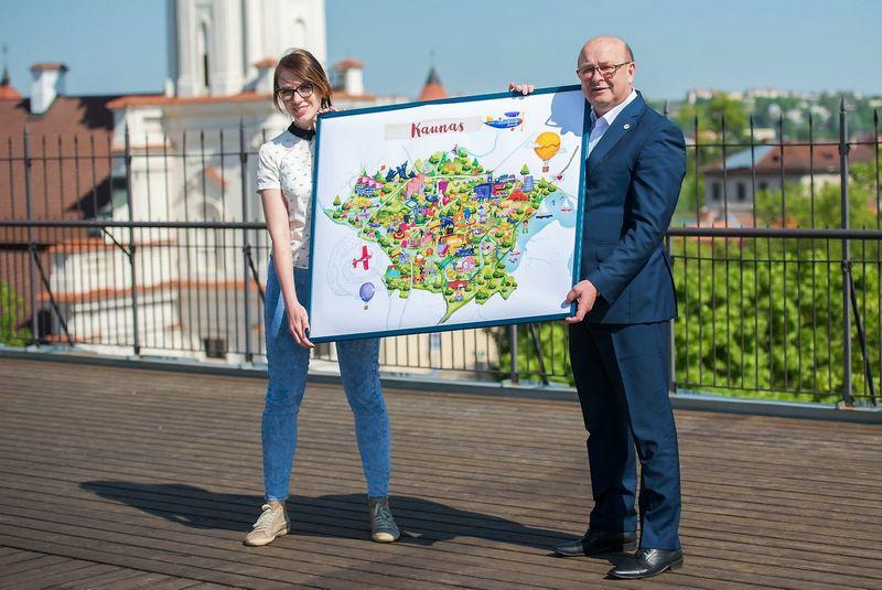 Kauno gimtadienio proga iliustratorė Eglė Majauskaitė sukūrė šiuolaikinio Kauno žemėlapį. Rengėjų nuotr.