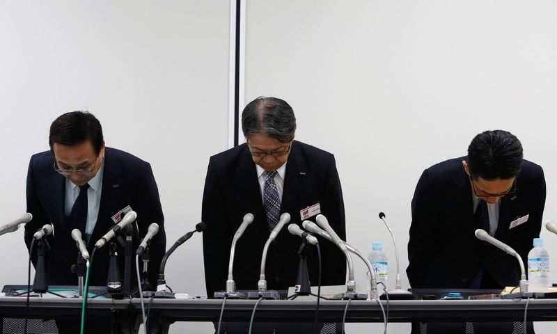 Fujifilm Holdings Corp's President and Chief Operating Officer Kenji Sukeno (C) attends a news conference in Tokyo, Japan June 12, 2017. REUTERS/Kim Kyung-Hoon