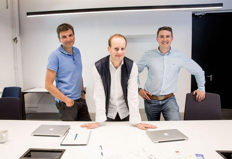 """""""Contrarian Ventures"""" partneriai (iš kairės): Darius Žakaitis, Rokas Pečiulaitis ir Nikolajus Martyniukas.  Juditos Grigelytės (VŽ) nuotr."""
