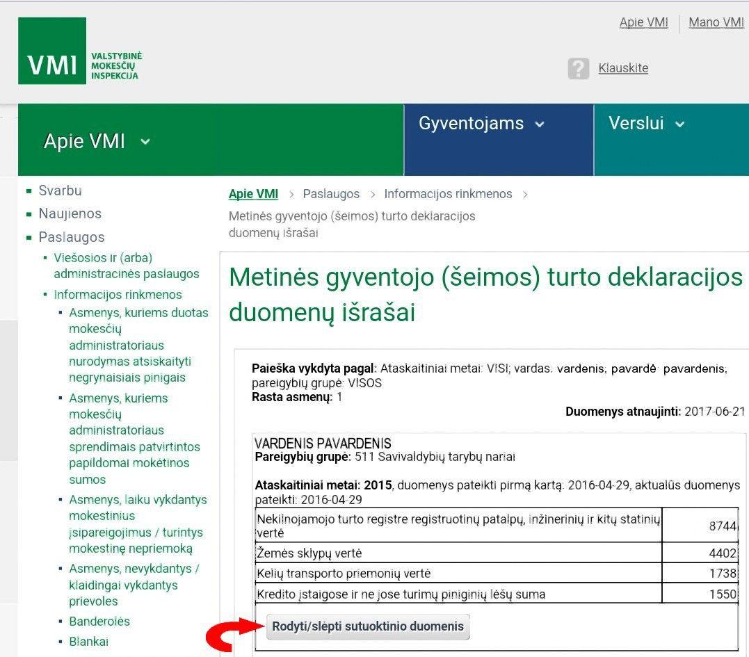 VMI jau paskelbė turto deklaracijas