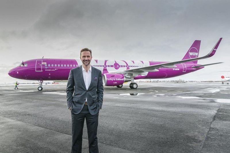 """Skulis Mogensenas, """"WOW Air"""" vadovas, kalba žaidimo taisyklės pasikeistų, jei skrydžių bendrovės pajamos nebūtų priklausomos nuo parduotų bilietų. Bendrovės nuotr."""