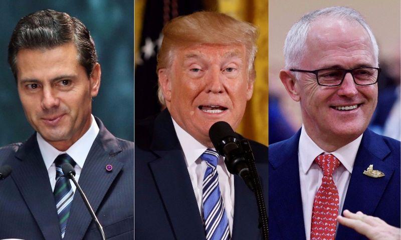 "Iš kairės: Enrique Pena Nieto, Meksikos prezidentas, Donaldas Trumpas, JAV prezidentas, ir Malcolmas Turnbullas, Australijos premjeras. VŽ montažas, ""Reuters"" / ""Scanpix"" nuotr."