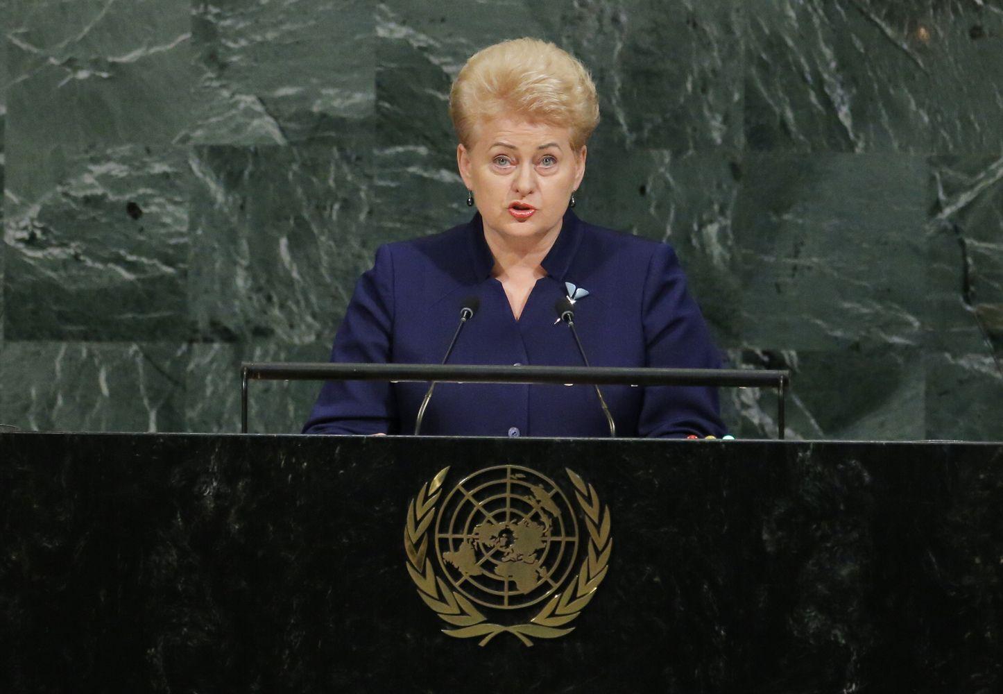 Grybauskaitės kalba JT: nubrėžiame linijas ir apsimetame, kad jos neegzistuoja