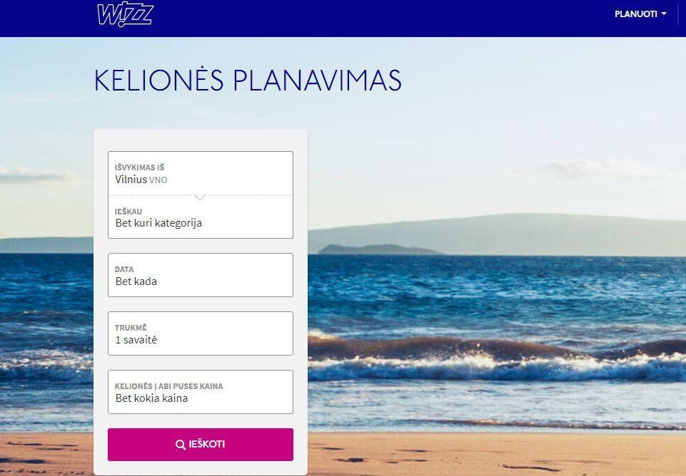 """""""Wizz Air"""" siūlo kelionių planavimo funkciją neapsisprendusiems"""