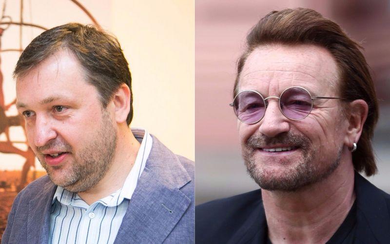 """Iš kairės: Antanas Guoga, EP narys, ir Paulas Davidas Hewsonas (Bono). VŽ koliažas (""""15min.lt"""" / """"Reuters"""") nuotr."""