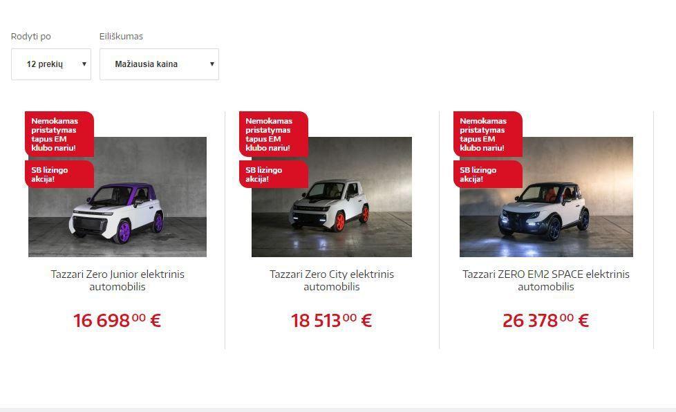 """""""Elektromarkt"""" pradeda prekiauti """"Tazzari"""" elektromobiliais"""