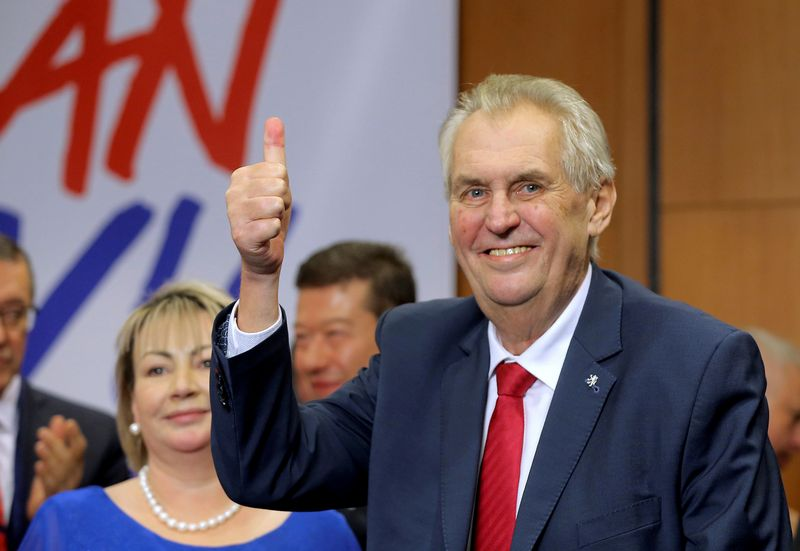 Czech President Milos Zeman reacts as he defeated pro-EU academic Jiri Drahos in the presidential election in Prague, Czech Republic, January 27, 2018.   REUTERS/Stringer