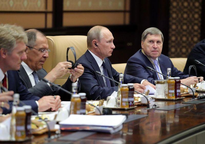 """JAV Iždo departamento sudarytame sąraše atsidūrė dauguma Kremliaus administracijos ir vyriausybės pareigūnų pavardžių. Michailo Klimentjevo (""""Sputnik"""" / """"Scanpix"""") nuotr."""