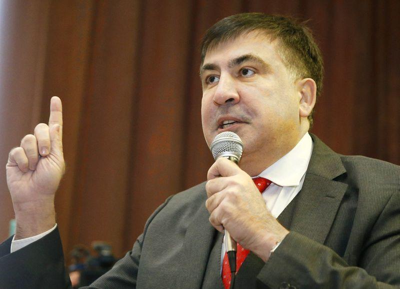 Mihailas Saakašvilis teisme Ukrainoje. Valentyno Ogirenkos (Reuters / Scanpix) nuotr.