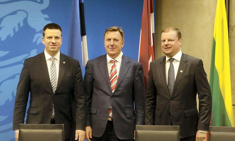 """Estijos, Latvijos ir Lietuvos vyriausybių vadovai. Into Kalninio (""""Reuters"""" / """"Scanpix"""") nuotr"""