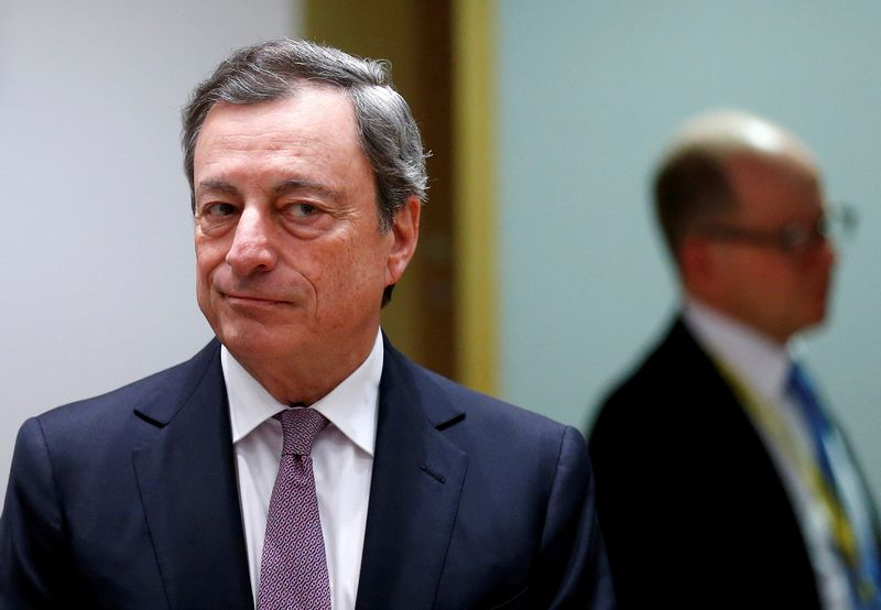 European Central Bank (ECB) President Mario Draghi attends a eurozone finance ministers meeting in Brussels, Belgium, February 19, 2018. REUTERS/Francois Lenoir/File Photo