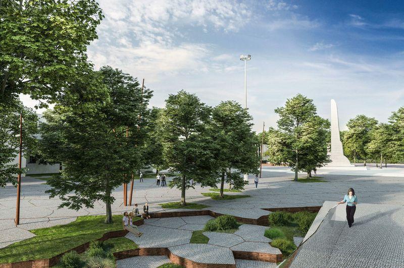 Kaune plauojama rekonstruoti ne tik S. Dariaus ir S. Girėno stadioną, bet ir šalia esančią Sporto gatvę. Kauno m. savivalsybės vizualizacija.