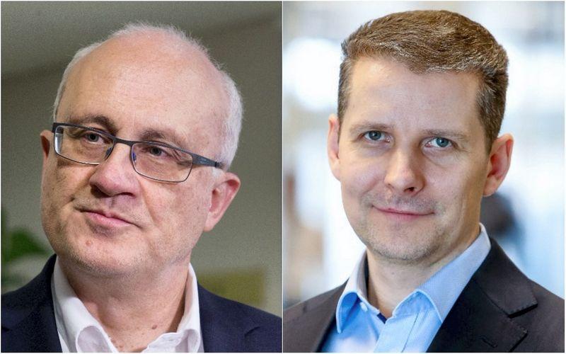VŽ montažas. Stasys Jakeliūnas, Seimo Biudžeto ir finansų komiteto pirmininkas ir Šarūnas Ruzgys, Lietuvos investicijų ir pensijų fondų asociacijos (LIPFA) vadovas.
