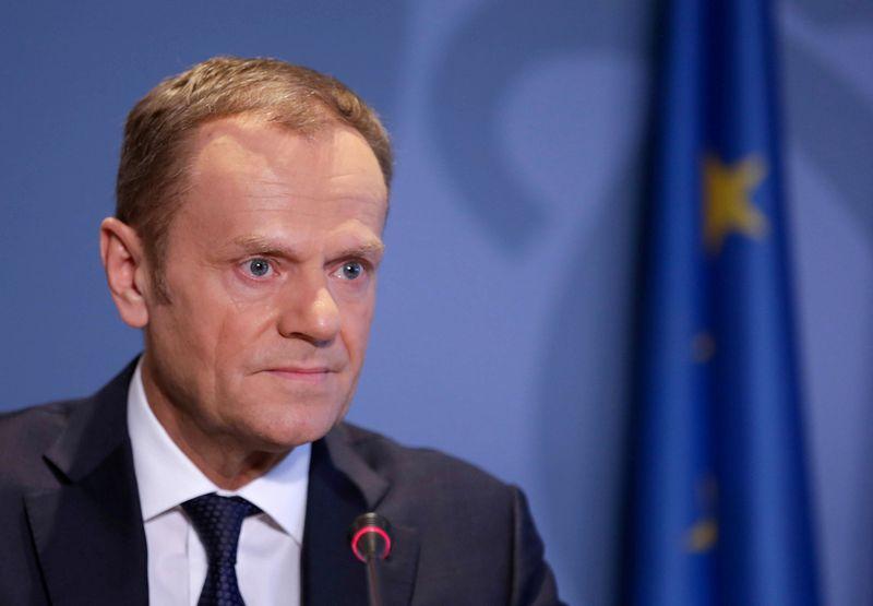 """EVT pirmininkas Donaldas Tuskas pristatė ES prekybos su JK planą. """"Reuters""""/Scanpix"""" nuotr."""