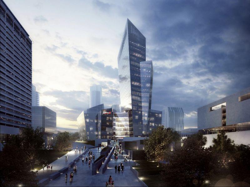 """Nuo 2007-ųjų galiojančia nuostata savivaldybė pasinaudojo du kartus. Vienas jų – naujajame miesto centre planuojamas verslo kompleksas, projektuojamas architekto D. Libeskindo. """"Studio Libeskind"""" vizualizacija."""
