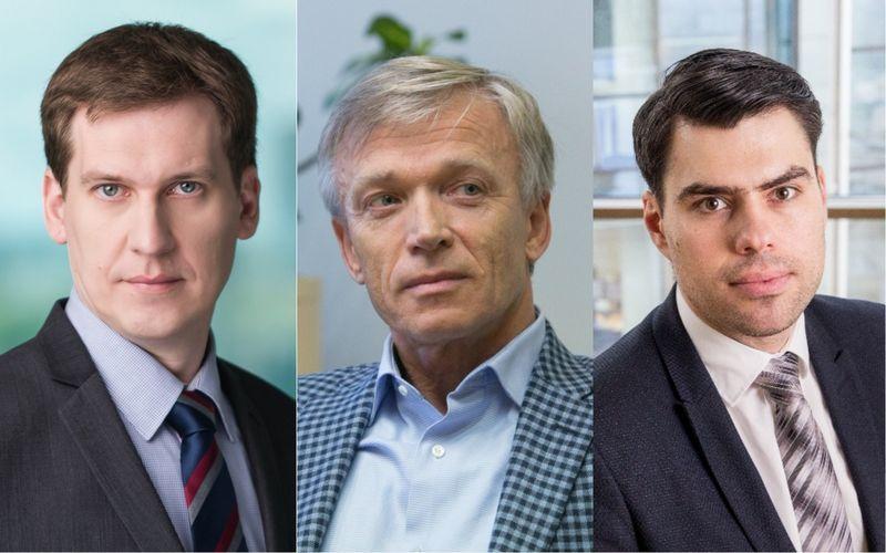 """Iš kairės: R. Reginis, """"Ober-Haus"""" rinkos tyrimų vadovas Baltijos šalims, A. Avulis, """"Hanner"""" valdybos pirmininkas, A. Antanavičius, """"Real Data"""" vadovas. VŽ koliažas (VŽ ir """"15min"""") nuotr."""