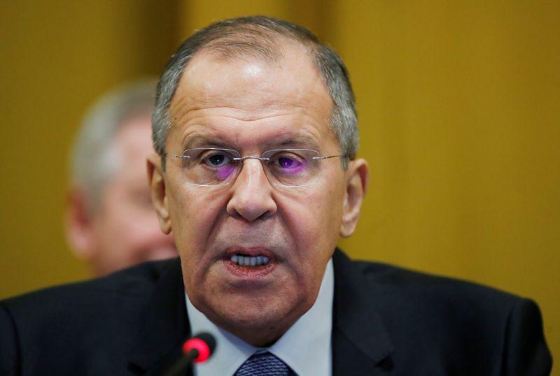 """Rusijos užsienio reikalų ministras griežtai atmeta kaltinimus dėl galimo Rusijos vaidmens pasikėsinime į p. Skripalą. Denio Balibouse (""""Reuters""""/""""Scanpix"""") nuotr."""