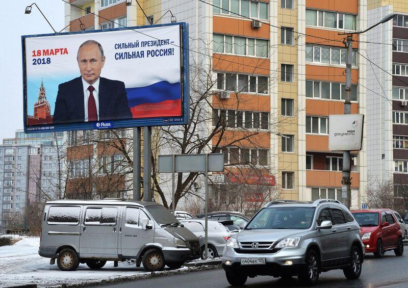 Rusijoje kovo 18 d. vyksiančiuose prezidento rinkimuose, neabejojama, laimės dabartinis valstybės vadovas Vladimiras Putinas. Vitaliy Ankov (Sputnik/Scanpix) nuotr.
