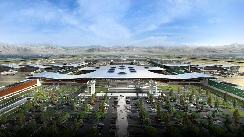 Santjago oro uosto projekto vizualizacija.