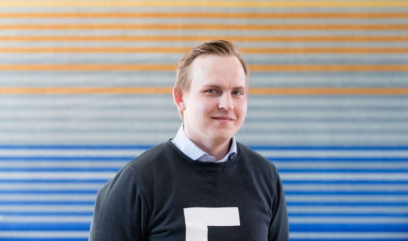 """Vienas iš estų įdarbinimo programėlės """"MeetFrank"""" įkūrėjų Kaarelas Holmas. Juditos Grigelytės (VŽ) nuotr."""