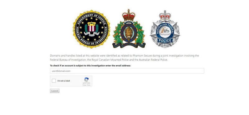 """""""Phantom Secure"""" interneto svetainė. VŽ ekrano nuotr."""