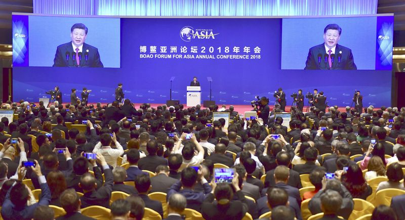 Chinese President Xi Jinping delivers a speech at an annual meeting of the Boao Forum for Asia in Boao, in the southern Chinese province of Hainan, in this photo taken by Kyodo April 10, 2018. Mandatory credit  Kyodo/via REUTERS   ATTENTION EDITORS - THIS IMAGE WAS PROVIDED BY A THIRD PARTY. MANDATORY CREDIT. JAPAN OUT.