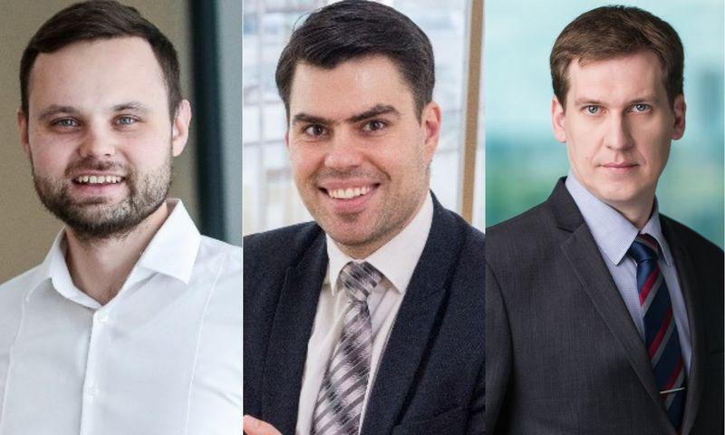 """Iš kairės: Robertas Žulpa, """"Inreal""""analitikas, Arnoldas Antanavičius, """"Realdata"""" direktorius, Raimondas Reginis, """"Ober-Haus"""" """" rinkos tyrimų vadovas Baltijos šalims. VŽ koliažas."""