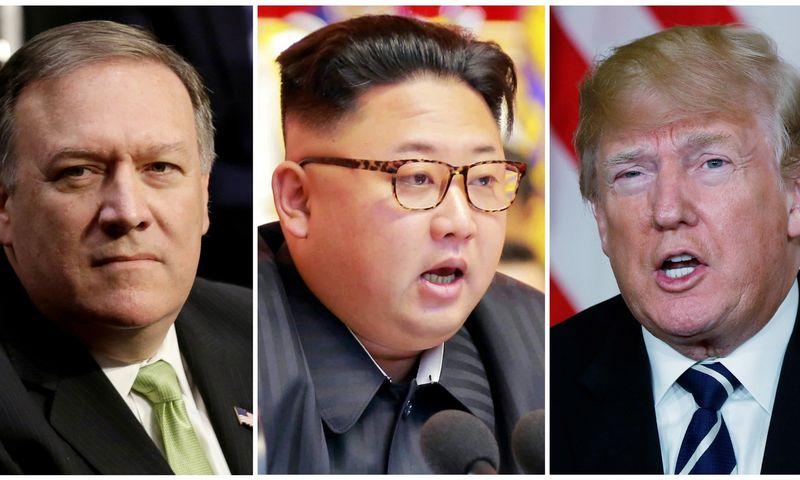 """CŽA direktorius Mike Pompeo, Šiaurės Korėjos lyderis Kim Jong Unas ir JAV prezidentas Donaldas Trumpas. Jurijaus Gripo  (""""Reuters"""" / """"Scanpix"""") nuotr."""