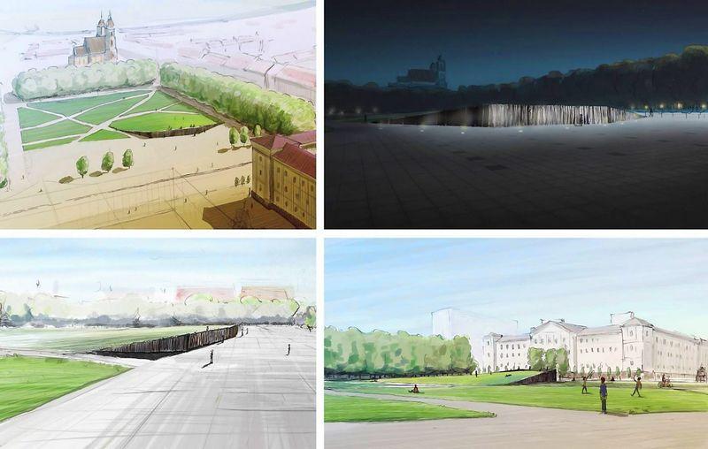 Andriaus Labašausko kurtas lukiškių aikštės projektas. VŽ koliažas, kūrėjo vizualizacijos.