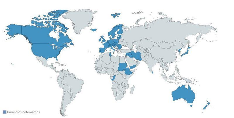 Eksporto kredito garantijos teikiamos už eksporto sandorius į šalis, kur yra didelė neatsiskaitymo rizika, o neteikiamos, pvz., į ES valstybes (be Graikijos), Australiją, Japoniją, JAV, Kanadą, Norvegiją, Šveicariją.