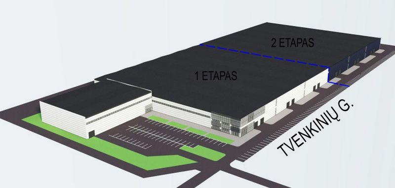Gamybos pastato vizualizacija.
