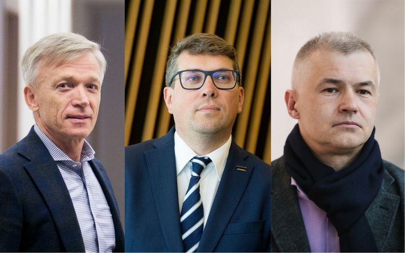 """Iš kairės: Arvydas Avulis, NT plėtros bendrovės Hanner"""" valdybos pirmininkas, Mindaugas Kulbokas, NT konsultacijų bendrovės """"Newsec"""" Tyrimų ir analitikos grupės vadovas Baltijos regione, ir Lionginas Šepetys, NT plėtros UAB """"Urban Inventors"""" vadovas. VŽ ir """"15min"""" nuotr."""