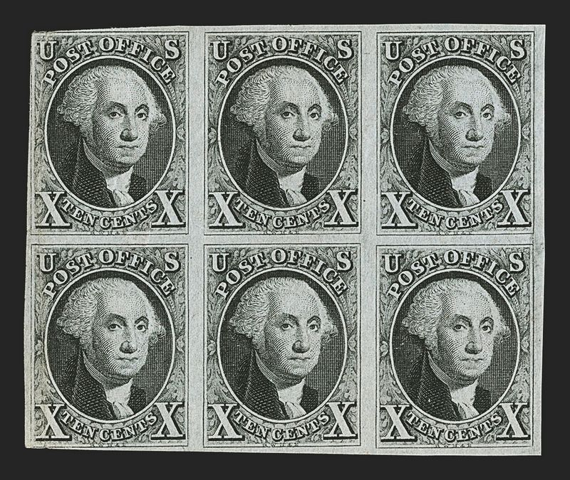 """Billo Grosso parduodamas šešių pašto ženklų blokas su George'o Washingtono atvaizdu - vienas iš trijų likusių visame pasaulyje. (""""Reuters"""" / """"Scanpix"""") nuotr."""