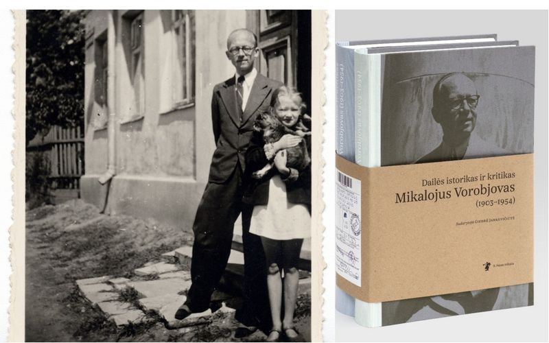 Mikalojus Vorobjovas su dukra Marija prie namų Žvėryne, Vilniuje, 1942 m. Lietuvos dailės muziejaus archyvo nuotr.