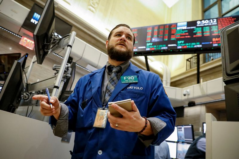 A trader works on the floor of the NYSE American Options market at the New York Stock Exchange, (NYSE) in New York, U.S., April 16, 2018. REUTERS/Brendan McDermid