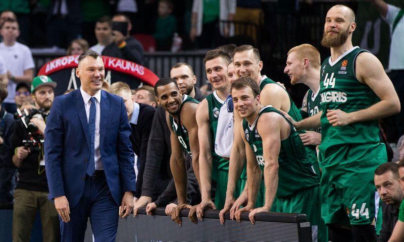 """Šarūno Jasikevičiaus vedami """"Žalgirio"""" krepšininkai šį savaitgalį bandys iškovoti antrąjį Eurolygos titulą komandos istorijoje. Žygimanto Gedvilos (""""Reuters"""" / """"Scanpix"""") nuotr."""