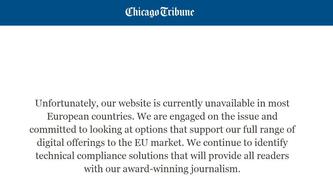"""Su BDAR Europoje nesusitvarkė ir """"Los Angeles Times"""" bei """"Chicago Tribune"""""""