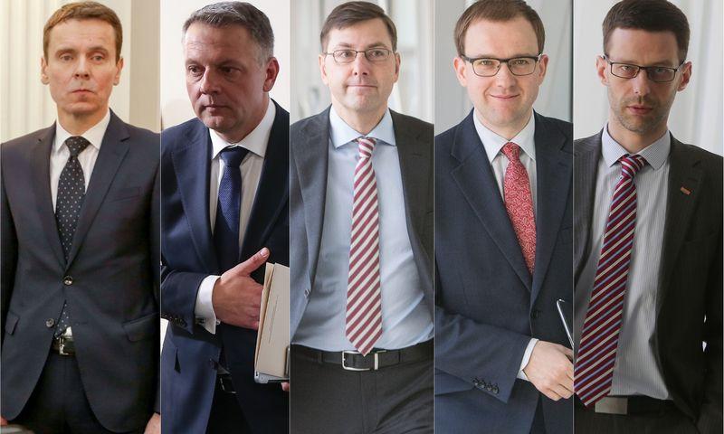 """Politinės korupcijos bylos pagrindiniai veikiantieji asmenys (iš kairės į dešinę): Raimondas Kurlianskis, buvęs koncerno """"MG Baltic"""" viceprezidentas, Eligijus Masiulis, buvęs Liberalų sąjūdžio pirmininkas, Gintaras Steponavičius, buvęs Liberalų sąjūdžio narys, Vytautas Gapšys, buvęs Darbo partijos narys, Šarūnas Gustainis, buvęs Liberalų sąjūdžio narys. VŽ montažas."""
