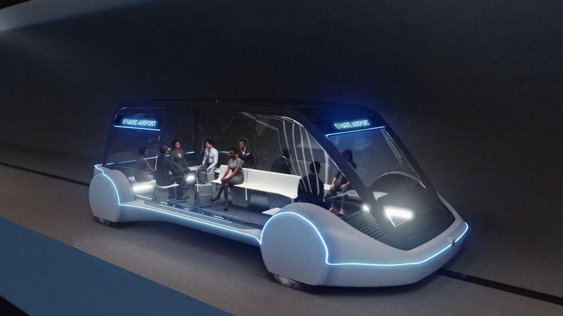 """Tokie greiteigiai vagonėliai turėtų sujungti Čikagos senamiestį su O'Haros oro uostu. """"Boring Company"""" vizualizacija."""