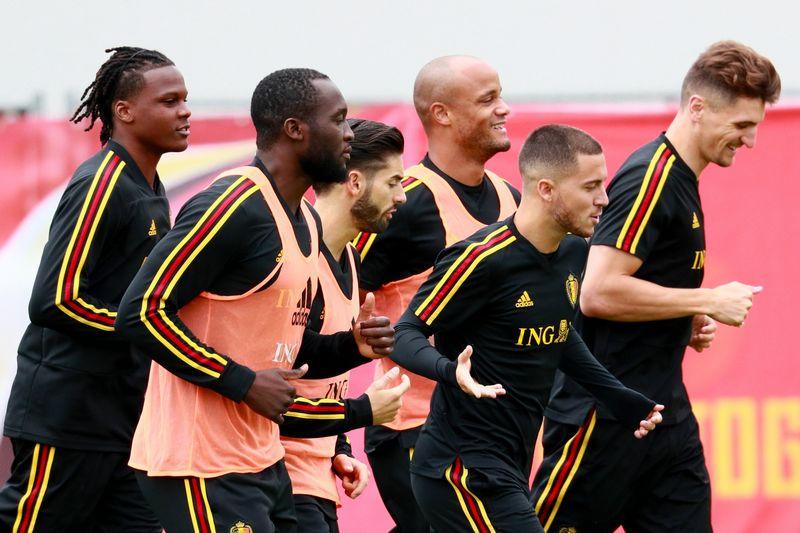 """Belgijos rinktinės žaidėjai angliškai bendrauja tiek treniruotėse, tiek rungtynėse. """"Sputnik"""" / """"Scanpix"""" nuotr."""
