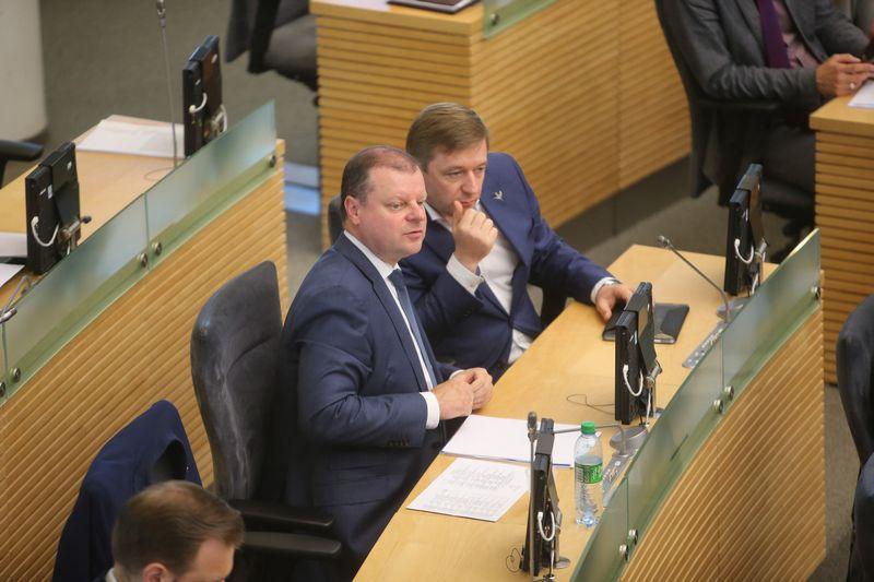 Saulius Skvernelis ir Ramūnas Karbauskis. Vladimiro Ivanovo (VŽ) nuotr.
