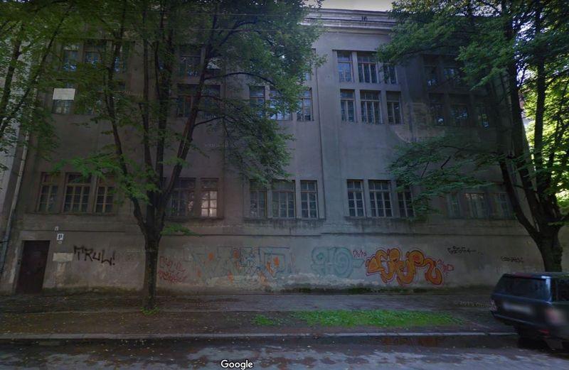 """Rusų dramos teatro valdomas pastatas Mindaugo g. 8A, Vilnius. """"Google Maps"""" atvaizdas."""